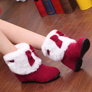 Wedge Heel Bow Trimmed Ankle Boots - RED 38