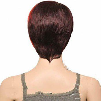 Attractive Straight Synthetic Vogue Claret Ombre Deep Brown Short Side Bang Women's Wig - DEEP BROWN