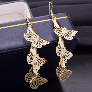 Pair of Hollow Out Butterfly Earrings - GOLDEN GOLDEN