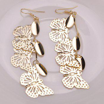 Pair of Hollow Out Butterfly Earrings -  GOLDEN