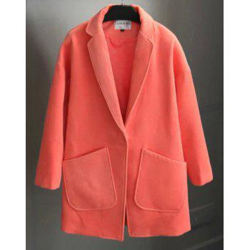 Stylish Women's Lapel Neck Long Sleeve Loose-Fitting Coat