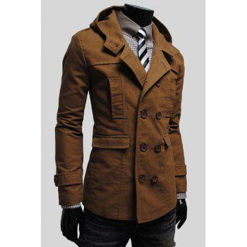 Simple Hooded Flap Pocket Back Slit Solid Color Long Sleeves Slimming Men's Trench Coat