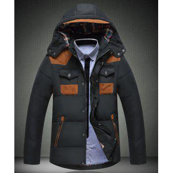 Multi-Zipper Color Spliced Personality Pocket Slimming Hooded Long Sleeves Men's Thicken Down Coat