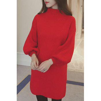 Ladylike Candy Color Stand Collar Long Sleeve Sweater Dress For Women - RED ONE SIZE(FIT SIZE XS TO M)