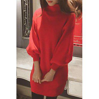 Ladylike Candy Color Stand Collar Long Sleeve Sweater Dress For Women - ONE SIZE(FIT SIZE XS TO M) ONE SIZE(FIT SIZE XS TO M)