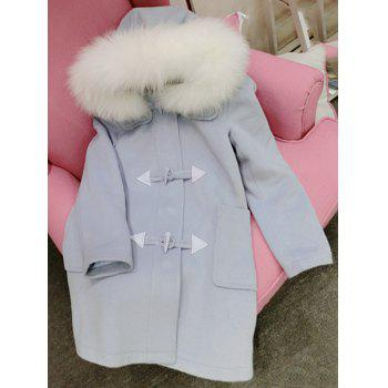 Chic Hooded Long Sleeve Button Design Loose-Fitting Women's Coat - ONE SIZE(FIT SIZE XS TO M) ONE SIZE(FIT SIZE XS TO M)