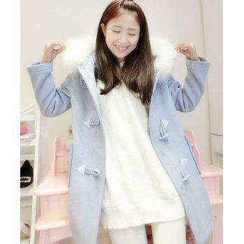 Chic Hooded Long Sleeve Button Design Loose-Fitting Women's Coat - LIGHT BLUE ONE SIZE(FIT SIZE XS TO M)