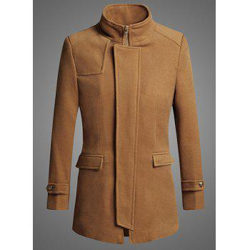 Personality Zipper Fly Flap Pocket Solid Color Slimming Stand Collar Long Sleeves Men's Coat - CAMEL CAMEL