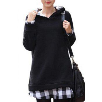 Stylish Long Sleeve Hooded Plaid Spliced Women's Pullover Hoodie - WHITE AND BLACK WHITE/BLACK