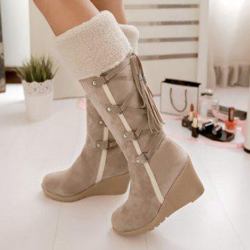 Fashion Tassel and Cross Straps Design Mid-Calf Boots For Women - 38 38