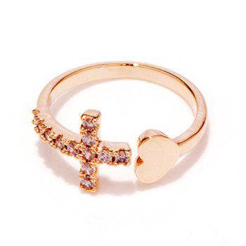Rhinestone Cross Heart Ring