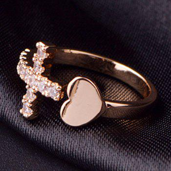 Rhinestone Cross Heart Ring - ONE-SIZE ONE-SIZE