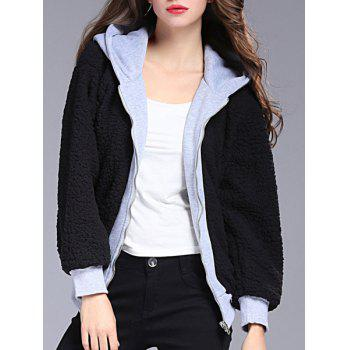 Stylish Hooded Long Sleeve Spliced Convertible Way Women's Coat