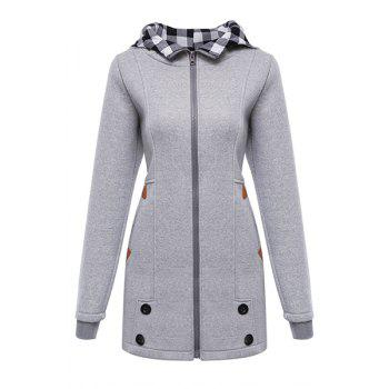 Stylish Hooded Long Sleeve Button Design Gingham Women's Hoodie