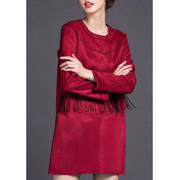 Stylish Women's Jewel Neck Long Sleeve Stud Embellished Fringed Dress