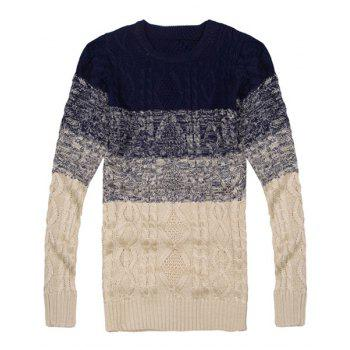 Cool Ombre Design Round Neck Hemp Flowers Intarsia Slimming Men's Long Sleeves Sweater