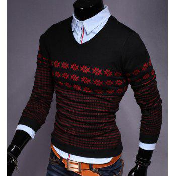 Hot Sale V-Neck Snowflake Jacquard Color Block Long Sleeves Men's Slimming Sweater