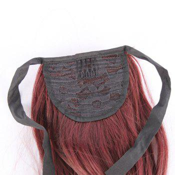 Fluffy Wavy Long Capless Charming Assorted Color Synthetic Women's Ponytail - HOT RED BURG/
