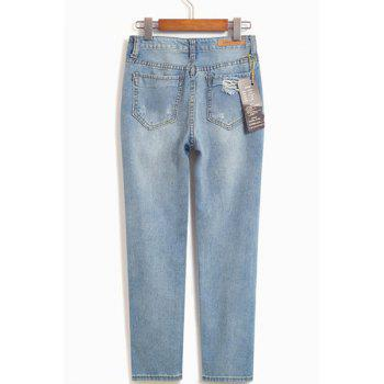 Trendy Hole Design Mid-Waisted Women's Jeans - 29 29