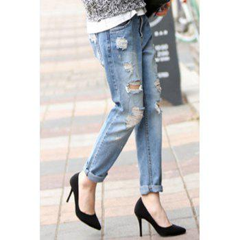 Trendy Hole Design Mid-Waisted Women's Jeans