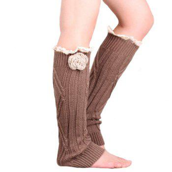 Pair of Chic Flower and Lace Edge Embellished Women's Knitted Leg Warmers -  RANDOM COLOR