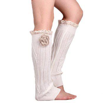 Pair of Chic Flower and Lace Edge Embellished Women's Knitted Leg Warmers