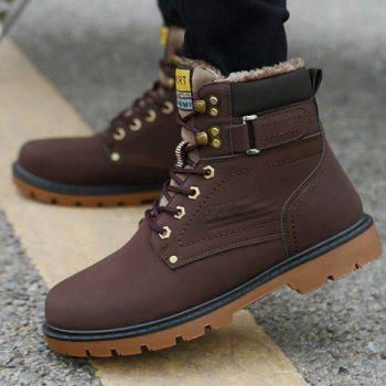 Lace Up Color Block Boots - DEEP BROWN 43