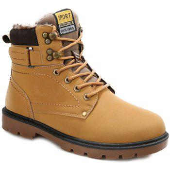 Lace Up Color Block Boots - YELLOW 44