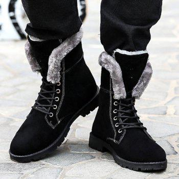 Stylish Skull and Faux Fur Design Boots For Men - BLACK BLACK