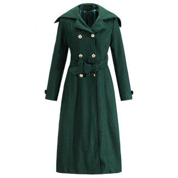 Chic Long Sleeve Turn-Down Neck Button Design Women's Peacoat - L L