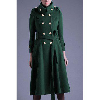 Chic Long Sleeve Turn-Down Neck Button Design Women's Peacoat - BLACKISH GREEN L