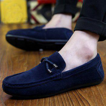 Stylish Criss-Cross and Suede Design Casual Shoes For Men - BLUE 42