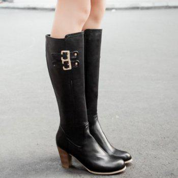 Stylish Chunky Heel and Double Buckles Design Mid-Calf Boots For Women - 37 37