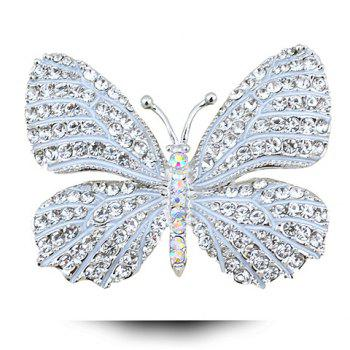Vintage Solid Color Rhinestoned Butterfly Shape Brooch For Women