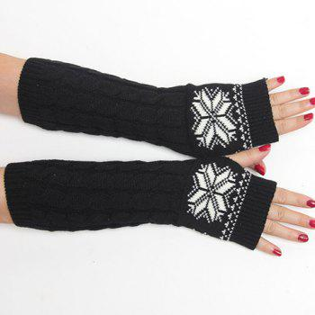 Pair of Chic Snowflake Pattern Hemp Flowers Women's Knitted Fingerless Gloves