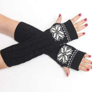 Pair of Chic Snowflake Pattern Hemp Flowers Women's Knitted Fingerless Gloves -  BLACK