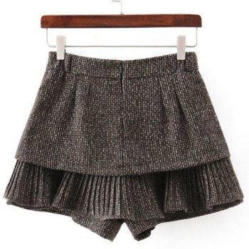 Chic Pocket Design High-Waisted Women's Culotte - KHAKI KHAKI