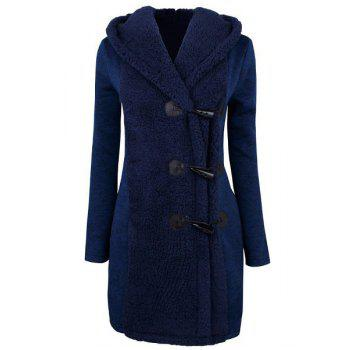 Chic Style Button Design Hooded Long Sleeve Worsted Coat For Women