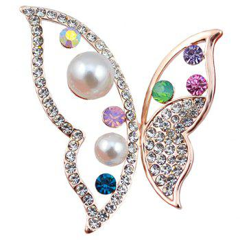 Rhinestoned Faux Pearl Butterfly Hollow Out Brooch