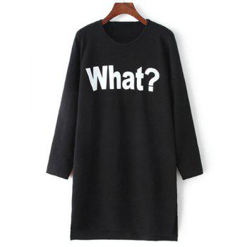 Chic Long Sleeve Round Neck Letter Pattern Women's Dress - BLACK ONE SIZE(FIT SIZE XS TO M)