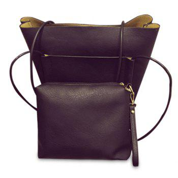 Concise Pure Color and PU Leather Design Shoulder Bag For Women