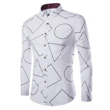 Refreshing Shirt Collar Geometric Pattern Print Slimming Men's Long Sleeves Shirt