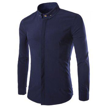 Casual Style Solid Color French Front Slimming Long Sleeves Men's Pin Collar Shirt