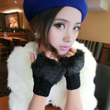 Buy Pair Chic Faux Fur Edge Embellished Knitted Fingerless Gloves Women BLACK