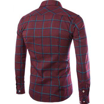 Classic Color Block Plaid Print Shirt Collar Long Sleeves Slimming Men's Button-Down Shirt - RED RED