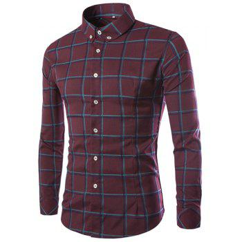 Classic Color Block Plaid Print Shirt Collar Long Sleeves Slimming Men's Button-Down Shirt