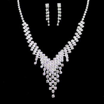 A Suit of Rhinestoned Tassel Necklace and Earrings - SILVER SILVER