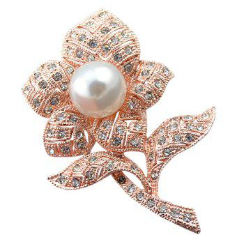 Faux Pearl Rhinestoned Flower Brooch - WHITE AND GOLDEN WHITE/GOLDEN