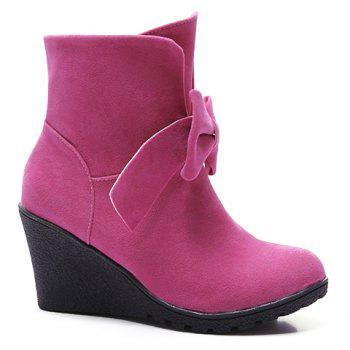 Sweet Bow and Wedge Heel Design Short Boots For Women