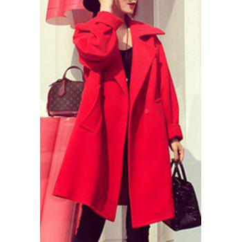 Women's Loose Pure Color Long Sleeve Woolen Coat - RED RED